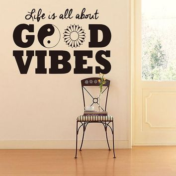 life is all about good vibes vinyl wall decal stickers home decor diy art mural removable wall sticker for decoration