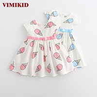 Sweet Girls ice cream printed kids dress for girl cute girls spring new children princess clothes dress