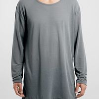 GREY GRUNGE SCOOP LONGER LENGTH LONGSLEEVE T-SHIRT - Long Sleeve T-Shirts - Clothing - TOPMAN USA