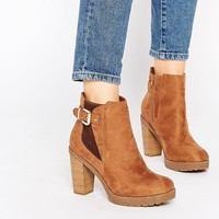 New Look Wide Fit Dais Tan Block Heeled Boots