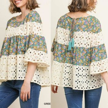 Pre-Order Eyelet and Floral Peasant Top
