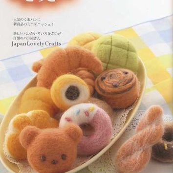 Needle Wool Felt Pattern - Kawaii Felt Food, Sweets, Sushi, Pizza - Japanese Craft Book -  for Felts - Play House Girl, Children  - B732