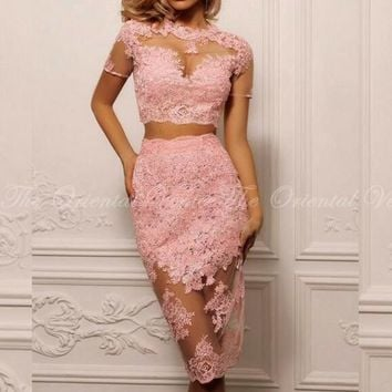Pink Lace Two Piece Robe De Cocktail Party Dresses with Sleeve Sheer Crop Top Knee Length Short Cocktail Dress Vestido de coctel