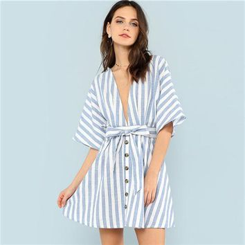 Button Front Striped Boating Dress