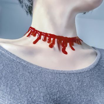 Red Blood Drip Necklace Head Neck Piece for Women Costume Cosplay Accessories