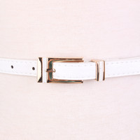 White Detailed Faux Leather Rectangular Buckle Belt