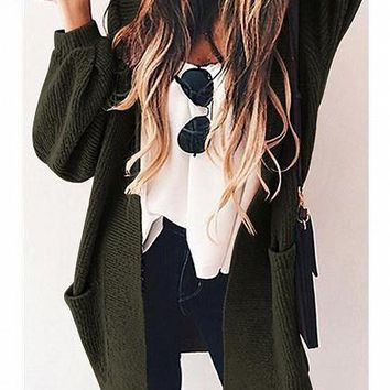 Army Green Open Front Pocket Detail Long Sleeve Knit Cardigan