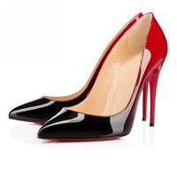 VUSUMOK Red Bottom High Heels Brand shoes Women Paint Leater Shoes Sexy Pointed Stiletto High Heels Women Pumps Plug Size 35-42