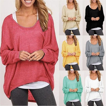 Women Blouse Batwing Long Sleeve Casual Loose Solid Tops Shirt Plus Size  Hot 9 Colors SZT [8805104647]