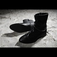 Chain Strapped Slouchy Leather Boots KC9