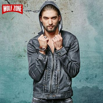*ONLINE EXCLUSIVE* Men's Denim Bomber Jacket with Hood