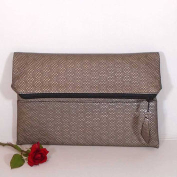 Evening clutch bag, wedding clutch for bride, foldover leather clutch, Bronze leather purse, gift for bridesmaids, wedding beige clutch bag