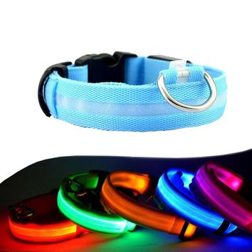 Night Safety LED Dogs Collar,Nylon Lights Flashing Glow In Dark Electric Pet Coolars,7Colors Pet Supplies Dog Cat Leash
