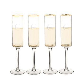 Personalized Gold Rim Contemporary Champagne Flutes (Set of 4)