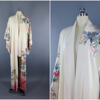 Vintage Kimono / Silk Kimono Robe / Dressing Gown / Long Robe / Wedding Lingerie / Downton Abbey / Art Deco