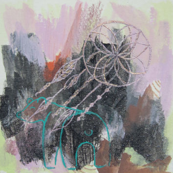Mixed media,Drawing,Gouache,Polar bear,Original,Paper,Dream Catcher,Watercolour,Metallic,Sketch,Pink,Artwork,Grey, Lime,Graphite,Abstract