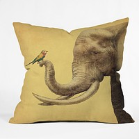 Eric Fan Elephant And Bird Throw Pillow
