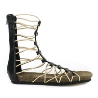 Fahrenheit April-01 Gladiator T-strap Flat Sandal in Black @ ippolitan.com