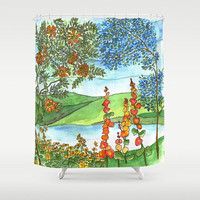 Landscape Shower Curtain - Beautiful Scene - Fabric - trees, flowers, mountains, lake, scenery, bathroom makeover