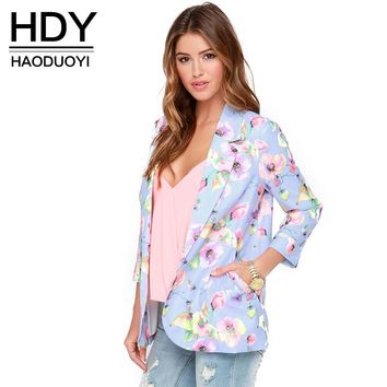 HDY Haoduoyi 2017 New Fashion Floral Printed Women Slim Casual Basic Jacket Female Vintage Autumn Brief Overcoat Office Ladies