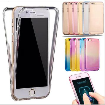 Rainbow Gradient TPU Silicone Soft 360 full Body Protective Case for iPhone 6 case 6S 7 Plus for iPhone 7 case 5 5S SE cases