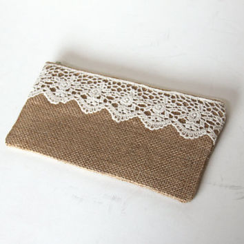 Burlap Lace Clutch Cotton Lined Zipper Closure Small Purse Cell Phone Bag New Bridesmaid Gift