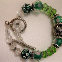 The Green Tea Silver Ring Crystal Bracelet