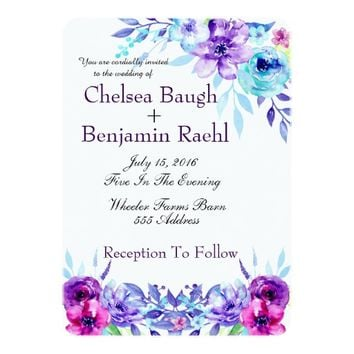 Chic Purple, Pink & Blue Watercolor Flower Wedding Card