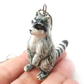 Ring-Tailed Lemur Porcelain Ceramic Animal Pendant Necklace | Handmade