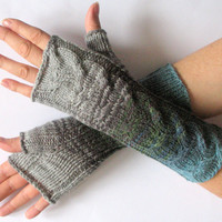 REGULAR PRICE Gray Fingerless Gloves Blue Azure Green Moss Long Mittens Arm Warmers, Acrylic Wool