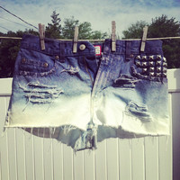 Custom Ombre, Distressed, Studded High Wasted Hipster Shorts
