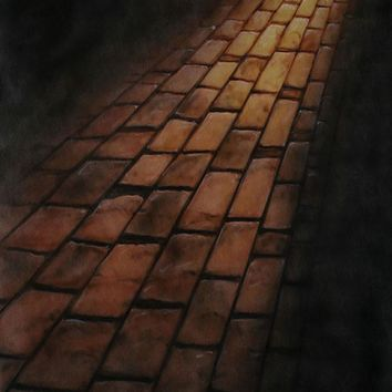Printed Muslin Scenic Dark Shaded Brick Pathway Backdrop - 113-5