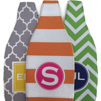Personalized Monogrammed Wine Bottle Koozie -  Wine Bottle Cover - Gifts by Mad For Monograms