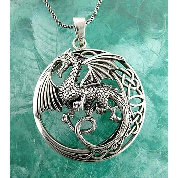Mythical Flying Dragon Necklace With Celtic Moon