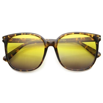 Retro Indie Oversize Horned Rim Square Sunglasses 9855