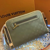 LV Louis Vuitton MEN'S MONOGRAM TITANIUM CANVAS CROSS BODY BAG