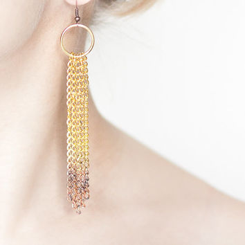 Long Ombre Chain Earrings Gold Chain Fringe Tribal Boho Glam blackened copper gold modern jewelry free shipping rusteam