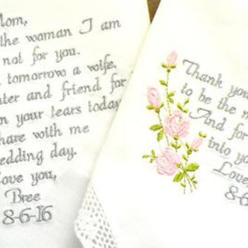 Mother of the Bride and Groom Mom Gift Moms Mother of the Bride and Groom Mom Future Mom Wedding Gifts Handkerchiefs By Canyon Embroidery