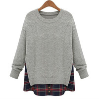 Jade Grey Plaid Layered Knit Sweater