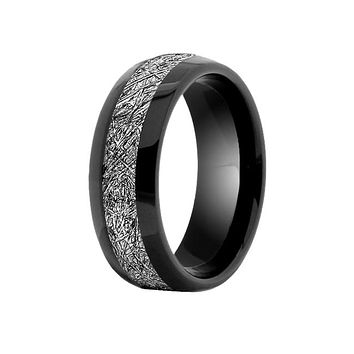 Meteor - Men's Black Tungsten Band With Meteorite Inlay