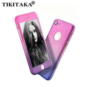 360 Gradient Stitching Phone Cases For iphone 6 6s 6 7 Plus Fashion Full Body Protection Armor Case Hard Cover Free Glass Film