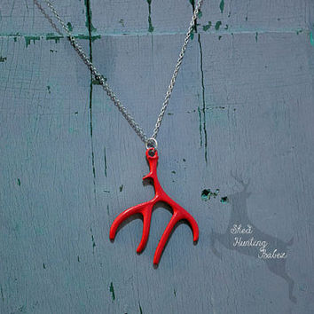 Cherry Red Deer Antler Charm Necklace / Antler Necklaces