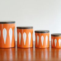 Rare Cathrineholm White Lotus on Orange Canisters - Mid Century