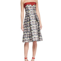 Carolina Herrera Strapless Marble-Print Flare Dress, Black/Gray/Multi