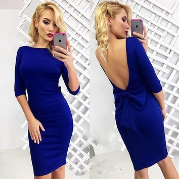 Women Dress Backless Sexy Bow-knot Design 2016 Summer Style Dresses Solid Color Half Sleeve Knee-Length Slim Female Vestidos