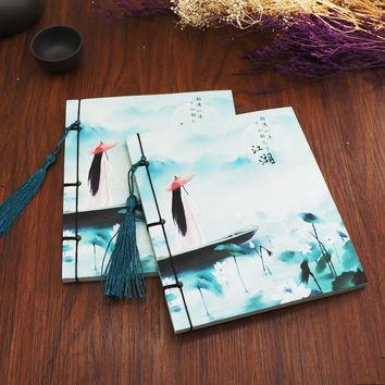 New Chinese Style Retro Vintage Handmade notebook School Students HardCover Stitching Composition Book Gift 761
