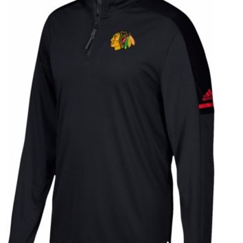 Men's Adidas Chicago Blackhawks Center Ice Authentic Pro Black Quarter-Zip Jacket