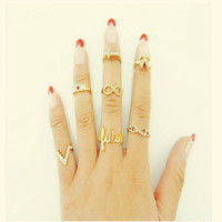 A Set New Design Fashion Women Silver Crystal Ring Wedding Engagement Gift Jewelry = 5988147713