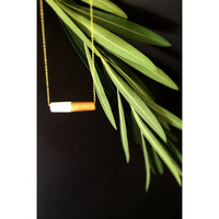 Minimal  Tube White, Gold Painted Polymer Clay Necklace