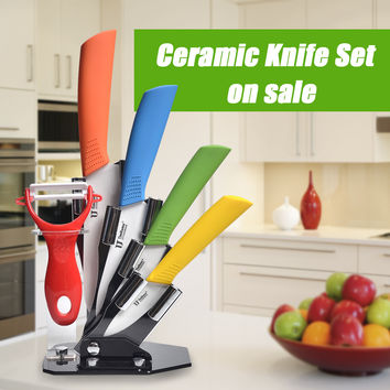 """High quality Zirconia kitchen knives ceramic knife set 3"""" 4"""" 5"""" 6"""" inch with peeler Chef Kitchen Knife Set Tools"""